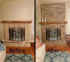 Way to Rock a #Fireplace – with Club Beige #Wood #Tile!!  Check out the before and after!