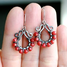 Handmade beaded hoops red coral oxidized by MimiMicheleJewelry