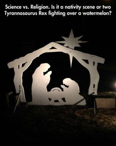 T-Rex's fighting over a watermelon? Or a nativity scene? funny pictures, dinosaur, funni, funny images, funny quotes, funny photos, hidden pictur, watermelon, nativity scenes