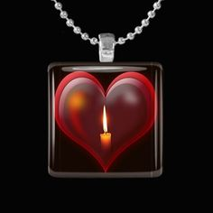 Glass Pendant - Heart with Candle Burning HCLTreasures - Jewelry on ArtFire, $8.50