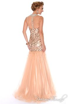 Precious Formals Style P46772 Sheer embellished  high neck with sheer  back and mermaid skirt make this bang on trend!