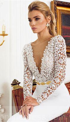 Sexy Lace Mermaid Crystal Wedding Dresses 2015 Deep V-Neck Long Sleeve Chiffon…