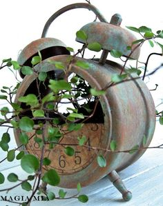 Use an old clock as a planter!