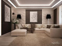 119 modern living room design and decor ideas 6 House Ceiling Design, Ceiling Design Living Room, Bedroom False Ceiling Design, Home Room Design, Home Ceiling, Interior Design Living Room, Living Room Designs, Modern Ceiling Design, Living Room Lighting Ceiling
