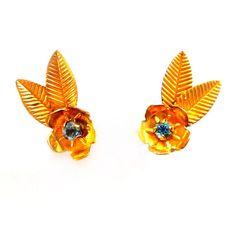 Vintage Blue Rhinestone Earrings, Gold Flower