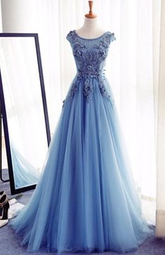 Blue Floor Length Tulle A-Line Prom Gown Featuring