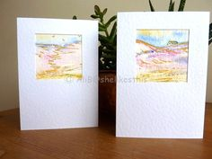 Original watercolour landscape handmade art cards blank