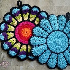 Inspiration! #Crochet Potholders, Coasters, Trivets and More Kitchen Crochet including these hotpads by @thepurpleponcho