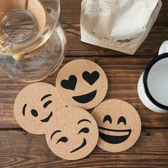 You can make coaster emojis, paint it yellow then paint the face on and seal with mod podge or print off emoji faces and stick them on coasters then seal with emojis Wood Burning Crafts, Wood Burning Patterns, Wood Burning Art, Wood Projects, Woodworking Projects, Craft Projects, Projects To Try, Woodworking Jigs, Cork Coasters