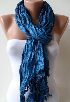 Royal Blue ShawlScarf with Lace Edge by SwedishShop on Etsy, $17.90