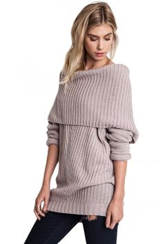 Smolder Off the Shoulder Oversized Sweater - Mauve