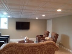 Before After Photos From A Customer Installation Using Ceilume Ceiling Tiles In Stratford White Drop