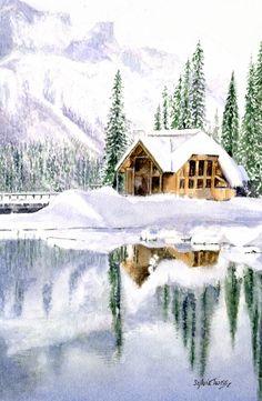 Emerald Lake Lodge. A  watercolour by Sylvia Twiss