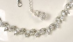 TRUE Vintage Art Deco Clear Rhinestone Link Necklace, Crystal Leaves Old Hollywood Silver Flapper Statement Necklace Great Gatsby Jewelry by AmoreTreasure