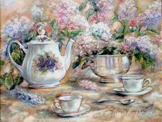 "Tazza da tè, Teiera, tè-partito, Still life, arte floreale, Laurie Shanholtzer ""Tè e lillà"" tela o cotone arte carta stampa,"