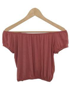 brynn off-the shoulder crop top (blush)