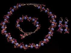 Set elegant din cristale fatetate mari de 10 mm imitatie jad si chipsuri de ametist cu parfum de lavanda.