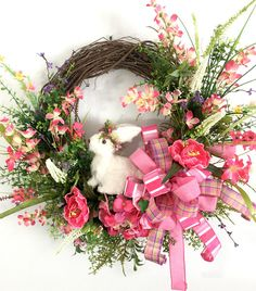 This beautiful Spring Easter Bunny Wreath will look fantastic on my front door for Easter and Spring. The perfect Spring  decor. Easter Front Porch Wreath Easter http://etsy.me/2EZLPFr