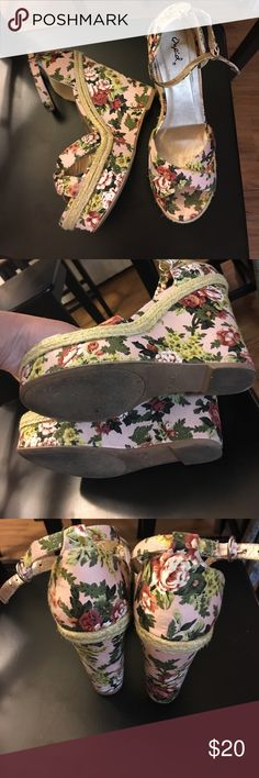 Floral wedges Used once! Bought years ago but didn't use them :/ so cute with a skirt or dress Charlotte Russe Shoes Wedges