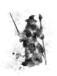 Gandalf, el Señor de la ilustración de la lámina de anillos, decoración casera, arte de la pared, fantasía, blanco y negro