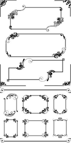 Set of vector collection stylish vintage frames with floral ornaments for decorations invitations, cards and Frame Border Design, Page Borders Design, Wedding Card Format, Fond Design, Wedding Symbols, Doodle Frames, Borders And Frames, Stencil Patterns, Album Design