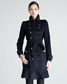 Ruffle-Hem Wool-Cashmere Trenchcoat by Burberry London at Neiman Marcus.