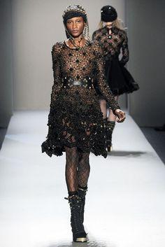 Alexander Herchcovitch black semi sheer knit embellished long sleeved lace trimmed mini dress