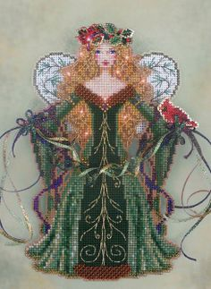 Spirit of Evergreen : counted cross stitch kit Brooke's Books Christmas woodland ornament perforated paper embroidery