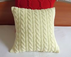 Happy yellow cable knit pillow cover hand knit by Adorablewares, $35.00