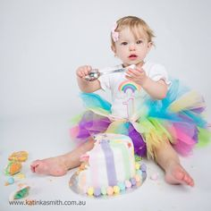 Miss Krystal's 1st Birthday Rainbow Cake Smash Outfit. Photo by the very talented Katinka Smith