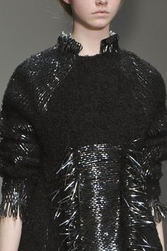 Black wool dress with woven metallic panels for contrasting texture; weaving; textiles; fashion design detail // Graham Fan