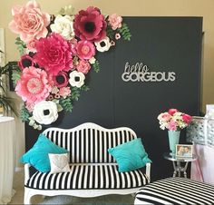 Floral black and white stripes