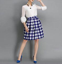 Blue Lattice A Style Women Middle Skirts White Plaid 29b0eff3412e