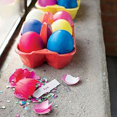 The Game | Small slits were cut into the crepe paper bottoms of the cascarones (Mexican confetti eggs) so strips of paper with potential baby names could be slipped inside. During the party, everyone broke open the eggs to reveal the names.