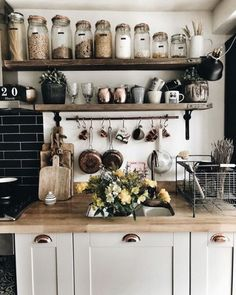 This homy style brings a friendly and inviting atmosphere to any home. Doesn't matter you live in the town or countryside, you owe big or small kitchen, you can create really unique and welcoming rustic kitchen design. Rustic Kitchen Decor, Diy Kitchen, Kitchen Interior, Kitchen Dining, Kitchen Jars, Kitchen Ideas, Earthy Kitchen, Rustic Farmhouse, Rustic Country Kitchens