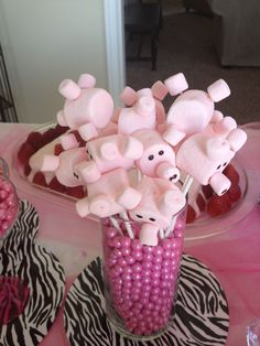 I'll cut the small marshmallows in half for the nose and ears. Great for a peppa pig party or farm themed birthday party. Farm Birthday, Toy Story Birthday, Toy Story Party, 3rd Birthday Parties, Peppa Pig Birthday Ideas, Peppa Pig Party Ideas, Farm Animal Birthday, Farm Animal Party, Barnyard Party