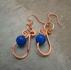 Blue Jade  All Handmade Copper Wire Wrap Dangle by Sewartzee, $12.00