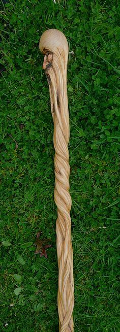 Carved Hazel walking stick by MS ART