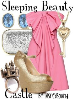 Sleeping Beauty Castle By: DisneyBound - Really cute designs centered around Disney  Disney Characters Where Disney nerds and fashion geeks collide. Outfits created by Leslie Kay. Pinned via Pin it Button for Websites