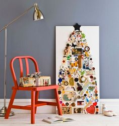 A wall-mount Christmass tree made of small objects isn't hard to make but usually looks really great.