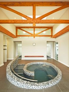 Rectangular trusses giving clean sharp lines to this spa room
