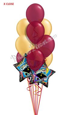 Burgundy & Gold Grad Balloon Bouquet (12 Balloons) Burgundy And Gold, Purple Gold, Green And Gold, Blue And Silver, Graduation Balloons, Graduation Day, Birthday Balloons, Grad Parties, Birthday Parties