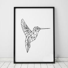 Geometric Birds Wall Stickers Decals Geometric Animals Kingfisher Wall Art 3D Visual Effects Vinyl Murals Poster Home Decor A401