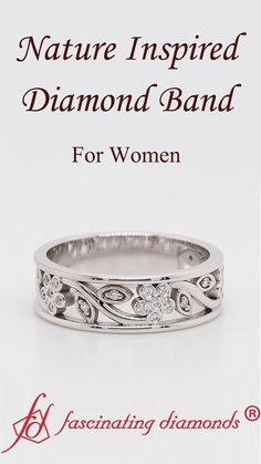 Shop nature inspired diamond wedding band for women in white gold at Fascinating Diamonds. This Wedding Ring is simply designed to suit your persona. Best Diamond, Diamond Bands, Diamond Wedding Bands, Thick Wedding Bands, Wedding Rings For Women, Stone Jewelry, Jewelry Rings, Jewelry Box, Quality Diamonds