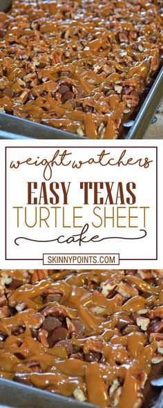 Texas Turtle Sheet Cake Easy Texas Turtle Sheet CakeEasy Easy may refer to: Köstliche Desserts, Healthy Desserts, Delicious Desserts, Dessert Recipes, Yummy Food, Healthy Recipes, Weight Watcher Desserts, Weight Watchers Meals, Ww Recipes