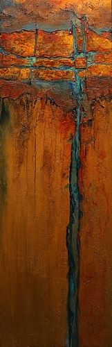 Copper Illusion 2, 11086 by Carol Nelson mixed media ~ rusty oranges with turquoise accents