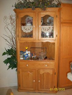 Light oak/pine corner cabinet & Rustic Hutches