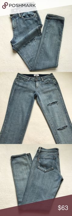 """{Paige} Jimmy Jimmy Distressed Skinny Jeans NWOT! Paige Jimmy Jimmy Skinny Jeans. Distressed style. Boyfriend cut. 5-pocket styling. Button closure and zip fly. Fabric: Lightweight denim. 70% cotton/30% rayon. 15 1/2"""" flat across waist. 8 1/2"""" front rise. Approx 31"""" inseam. New without tags. Never worn. Paige Jeans Jeans Skinny"""