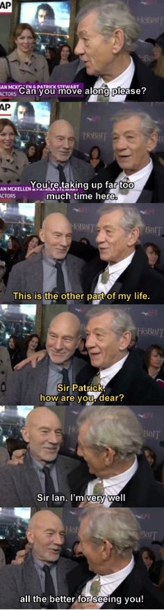 Geekery : Mash Up : Sir Patrick Stewart and Sir Ian McGregor Conversation - this just makes me smile
