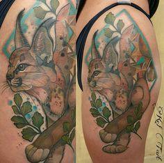 Kel Tait watercolor lynx tattoo